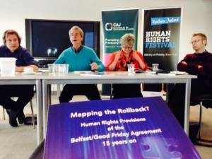 Prof Bill Rolston (TJI Director) speaks at Mapping the Rollback event as part of the NI Human Rights Festival
