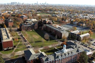 An aerial view of the Tufts campus