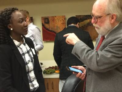 Our Ugandan LLM student Flavia Ibyara speaks with our Urban Morgan Human Rights Institute director, Professor Bert Lockwood, about human trafficking during a UC Law event