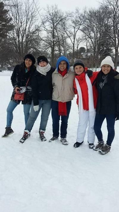 Sledding at Elizabeth Park during a snow storm