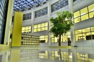 The HNLU has a three-storied library with an air conditioned reading hall. The HNLU library has adopted an open access system so as to make it easier for the readers to access to the library resources thereby savingtime. The library has a large collection of law books, case law reports and journals. To assist the students and research scholars in locating their desired legal literature and other information, a library automation system has been installed. Photocopying and printing facilities are available.