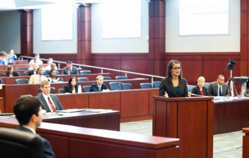 UF Law students argue a case in the Martin H. Levin Advocacy Center courtroom as part of a trial team competition.