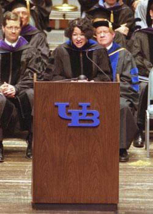 US Supreme Court Justice Sonia Sotomayor delivering the commencement address in 2003