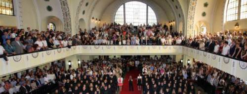 Graduation ceremony of law students after the completion of the Hungarian Master of Laws training. The solemn university and church venues provide for memorable settings for university occasions.