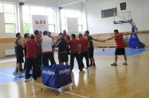 Spanish basketball team at Mykolas Romeris University sport hall during EUROBASKET 2011