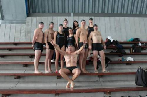 Celebrating the results of a swimming competition between university teams. These activities are open to join in for our prospective LL.M. students as well.