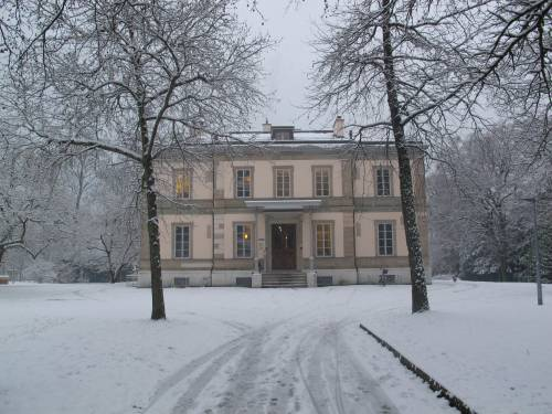 The Geneva Academy Headquarters, Villa Moynier, under the snow.