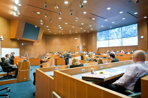 Loyola's Robinson Courtoom is designed to replicate the look and feel of U.S. courtrooms.