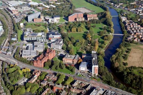 Aerial view of University of Salford main campus