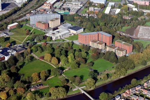 Aerial view of University of Salford's Peel park campus