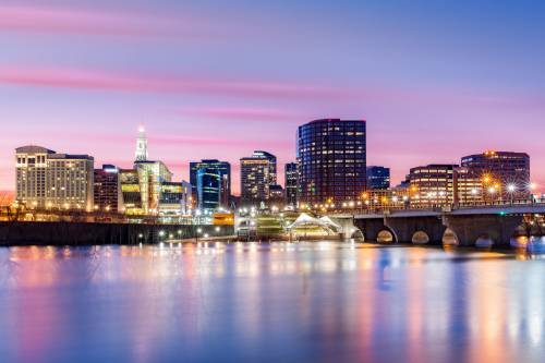 The skyline of Hartford, the Insurance Capital of the United States.