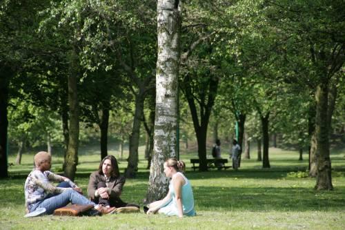 Students in Peel park