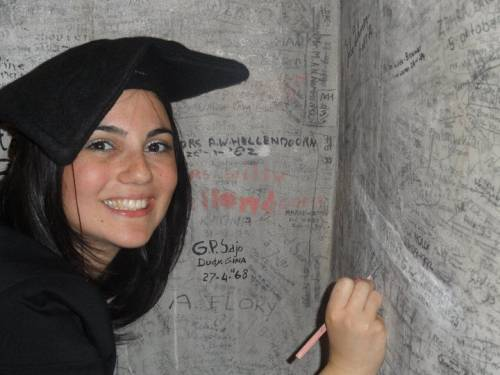 A Leiden tradition - signing the wall after graduation.
