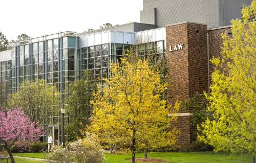 Duke Law School in spring